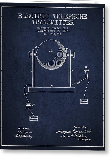 Telephone Lines Greeting Cards - Alexander Graham Bell Electric Telephone Transmitter Patent from Greeting Card by Aged Pixel