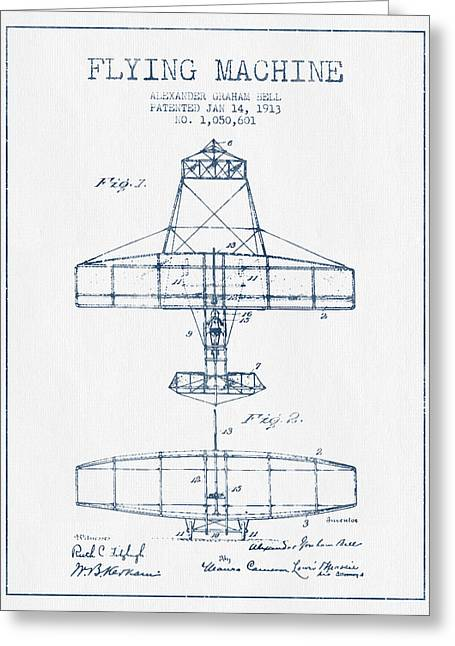 Vintage Airplane Greeting Cards - Alexander Graham Bell Flying Machine Patent from 1913 - Blue Ink Greeting Card by Aged Pixel