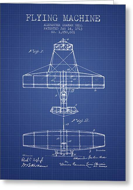 Vintage Airplane Greeting Cards - Alexander Graham Bell Flying Machine Patent from 1913 - Blueprin Greeting Card by Aged Pixel