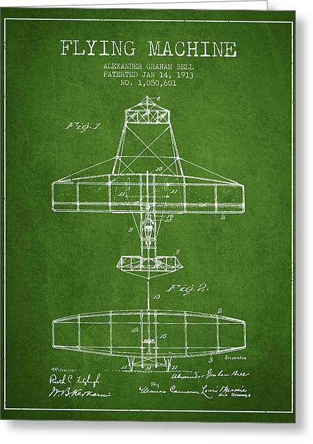 Vintage Airplane Greeting Cards - Alexander Graham Bell Flying Machine Patent from 1913 - Green Greeting Card by Aged Pixel