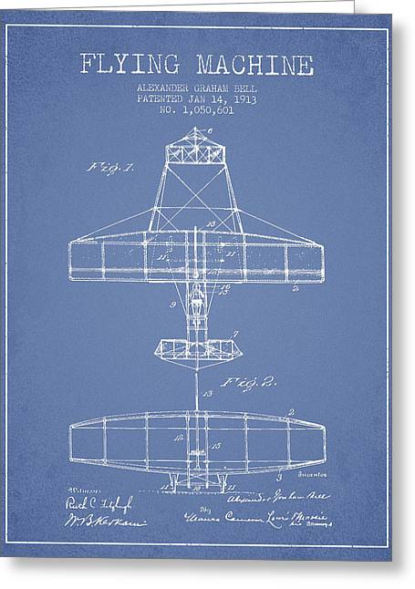 Vintage Airplane Greeting Cards - Alexander Graham Bell Flying Machine Patent from 1913 - Light Bl Greeting Card by Aged Pixel