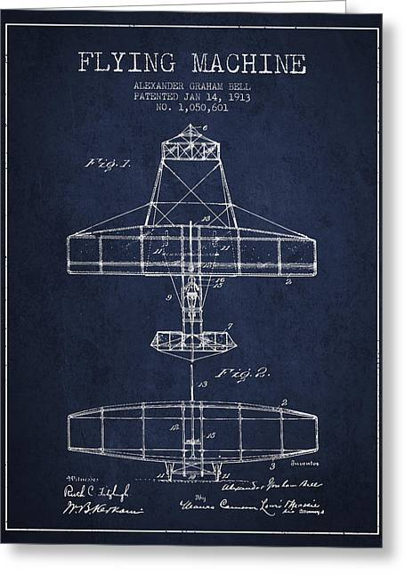 Vintage Airplane Greeting Cards - Alexander Graham Bell Flying Machine Patent from 1913 - Navy Blu Greeting Card by Aged Pixel