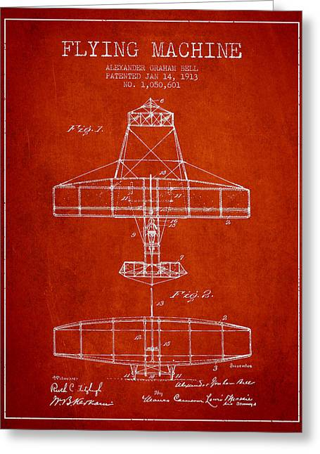 Vintage Airplane Greeting Cards - Alexander Graham Bell Flying Machine Patent from 1913 - Red Greeting Card by Aged Pixel