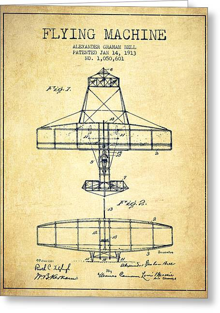 Vintage Airplane Greeting Cards - Alexander Graham Bell Flying Machine Patent from 1913 - Vintage Greeting Card by Aged Pixel