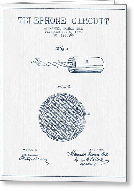 Telephone Lines Greeting Cards - Alexander Graham Bell Telephone Circuit Patent from 1876 - Blue  Greeting Card by Aged Pixel
