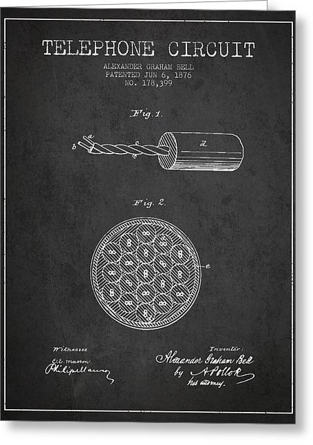 Telephone Lines Greeting Cards - Alexander Graham Bell Telephone Circuit Patent from 1876 - Dark Greeting Card by Aged Pixel