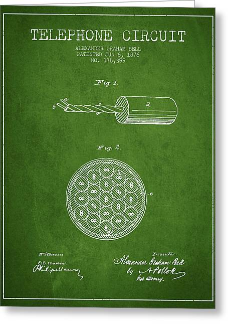 Telephone Lines Greeting Cards - Alexander Graham Bell Telephone Circuit Patent from 1876 - Green Greeting Card by Aged Pixel