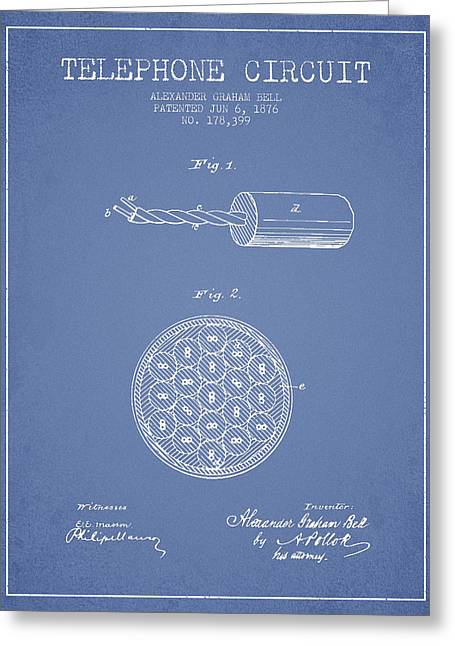 Telephone Lines Greeting Cards - Alexander Graham Bell Telephone Circuit Patent from 1876 - Light Greeting Card by Aged Pixel