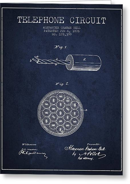 Telephone Lines Greeting Cards - Alexander Graham Bell Telephone Circuit Patent from 1876 - Navy  Greeting Card by Aged Pixel