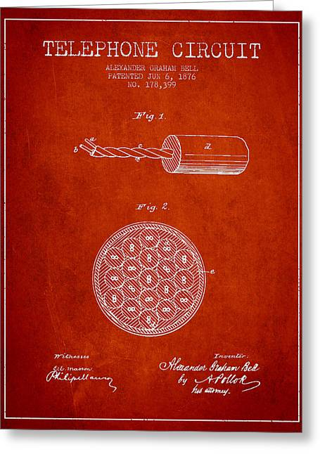 Telephone Lines Greeting Cards - Alexander Graham Bell Telephone Circuit Patent from 1876 - Red Greeting Card by Aged Pixel