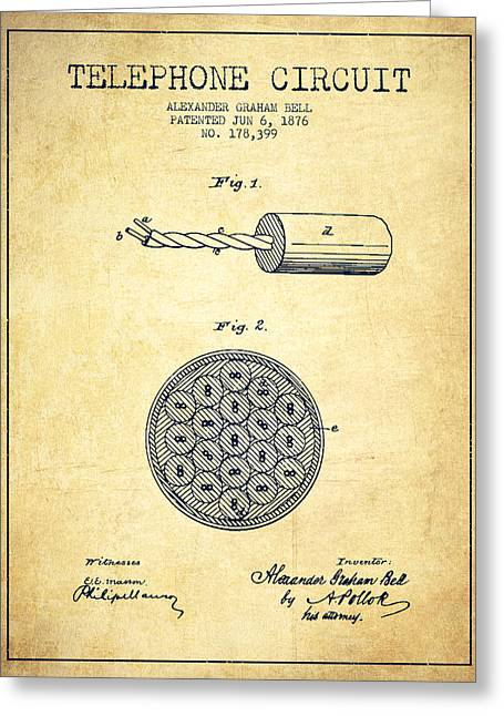 Telephone Lines Greeting Cards - Alexander Graham Bell Telephone Circuit Patent from 1876 - Vinta Greeting Card by Aged Pixel