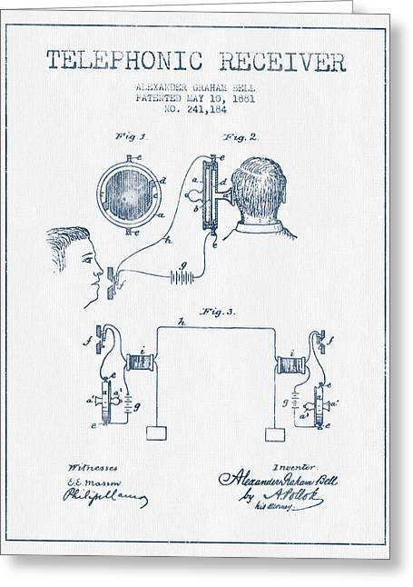 Telephone Lines Greeting Cards - Alexander Graham Bell Telephonic Receiver Patent from 1881  - Bl Greeting Card by Aged Pixel