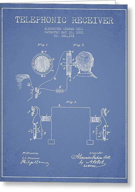 Telephone Lines Greeting Cards - Alexander Graham Bell Telephonic Receiver Patent from 1881- Ligh Greeting Card by Aged Pixel