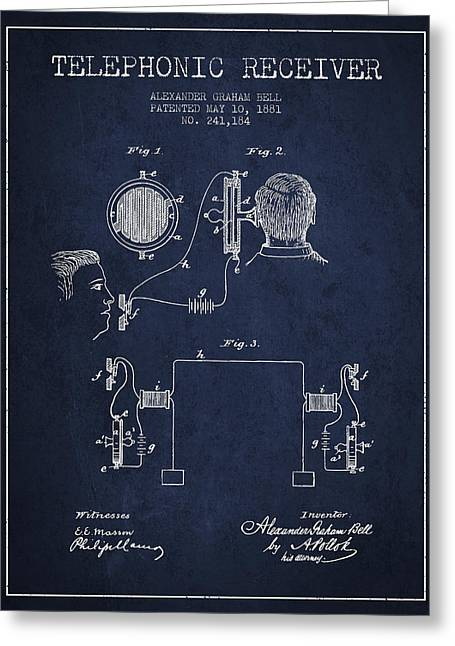 Telephone Lines Greeting Cards - Alexander Graham Bell Telephonic Receiver Patent from 1881- Navy Greeting Card by Aged Pixel