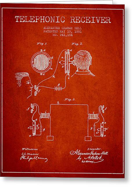Firsts Digital Greeting Cards - Alexander Graham Bell Telephonic Receiver Patent from 1881- Red Greeting Card by Aged Pixel