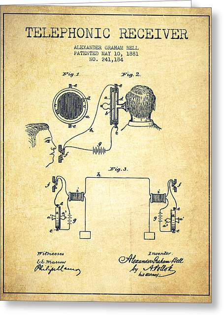 Telephone Lines Greeting Cards - Alexander Graham Bell Telephonic Receiver Patent from 1881- Vint Greeting Card by Aged Pixel