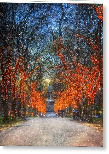 New England Snow Scene Greeting Cards - Alexander Hamilton on Commonwealth Ave - Boston Greeting Card by Joann Vitali