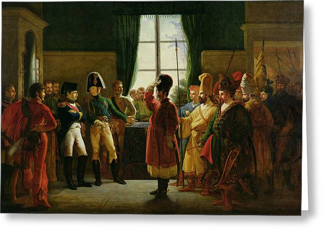 Russian Photographs Greeting Cards - Alexander I 1777-1825 Presenting The Kalmuks, Cossacks And Bashkirs To Napoleon I 1769-1821 Greeting Card by Pierre-Nolasque Bergeret