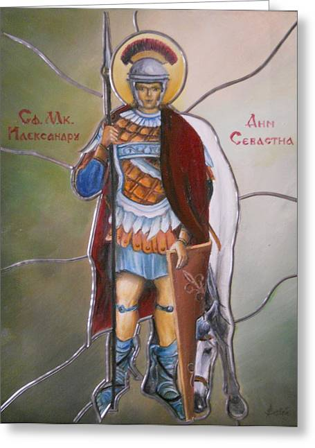 Icons Prints On Canvas Greeting Cards - Alexander of Sebaste Greeting Card by Sorin Apostolescu