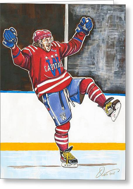 Hockey Winter Classic Drawings Greeting Cards - Alexander Ovechkin 2015 Winter Classic Greeting Card by Dave Olsen