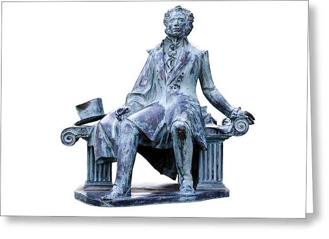White Background Greeting Cards - Alexander Pushkin Greeting Card by Fabrizio Troiani