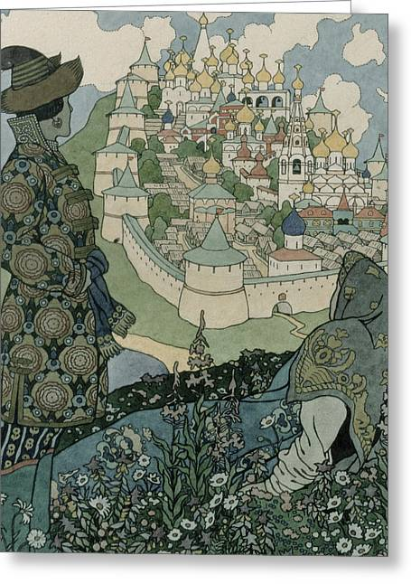 Slavonic Greeting Cards - Alexander Pushkins Fairytale of the Tsar Saltan Greeting Card by Ivan Jakovlevich Bilibin