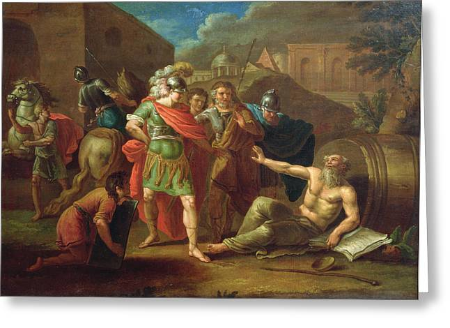 Philosopher Greeting Cards - Alexander The Great Visits Diogenes At Corinth, 1787 Oil On Canvas Greeting Card by Ivan Philippovich Tupylev