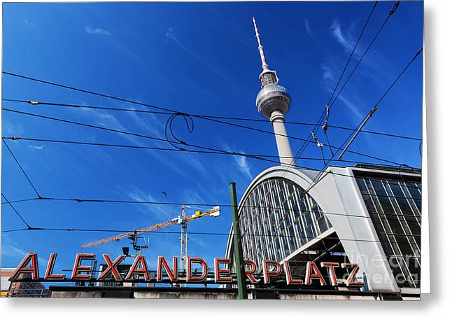 U-bahn Photographs Greeting Cards - Alexanderplatz sign and Television tower Berlin Germany Greeting Card by Michal Bednarek