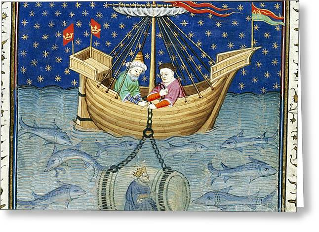Diving Bell Greeting Cards - Alexanders Diving Bell, Medieval Artwork Greeting Card by British Library