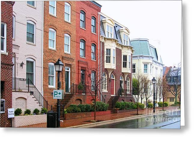 Alexandria Virginia Greeting Cards - Alexandria Row Houses  1775 Greeting Card by Jack Schultz
