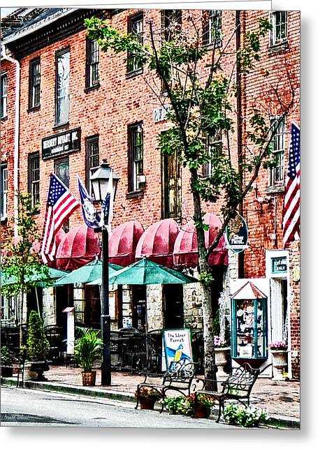 Alexandria Street With Cafe Greeting Card by Susan Savad