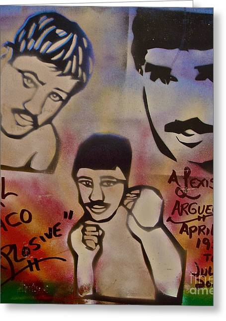 Aerosol Paintings Greeting Cards - Alexis Arguello Greeting Card by Tony B Conscious