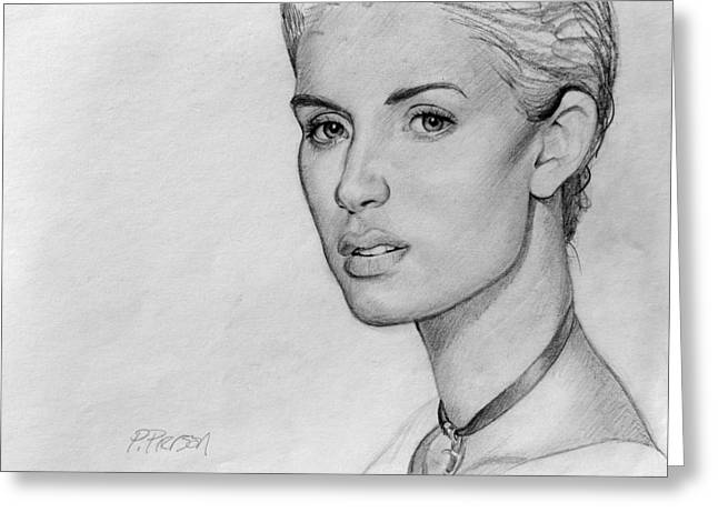 Graphite Drawing Greeting Cards - Alexis Greeting Card by Patrick Anthony Pierson