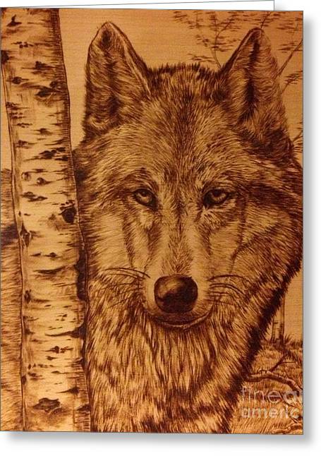 Leader Pyrography Greeting Cards - Alfa Male Greeting Card by Adin Begic
