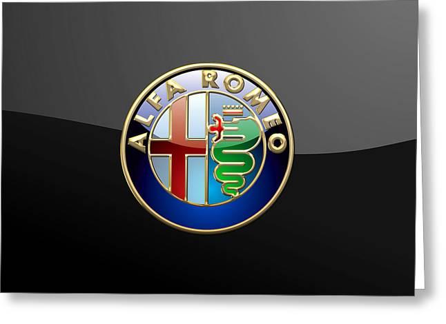 Heraldry Greeting Cards - Alfa Romeo  - 3D Badge on Black Greeting Card by Serge Averbukh
