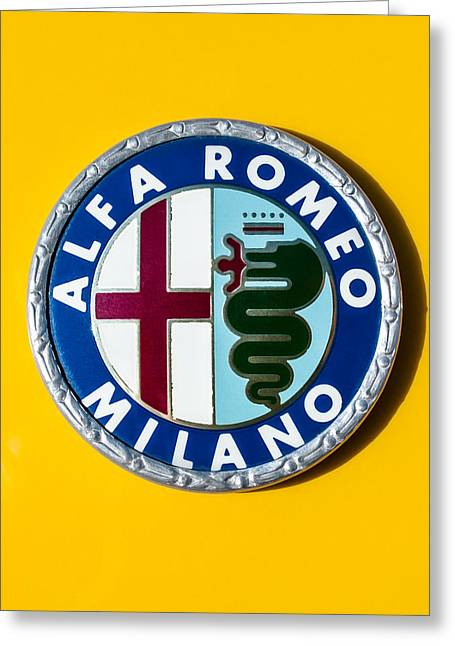 Famous Photographers Greeting Cards - Alfa Romeo Emblem Greeting Card by Jill Reger