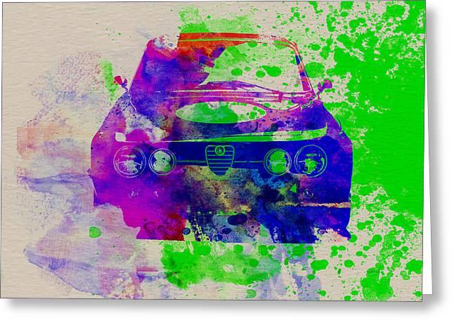 Alfa Romeo Front Watercolor 1 Greeting Card by Naxart Studio