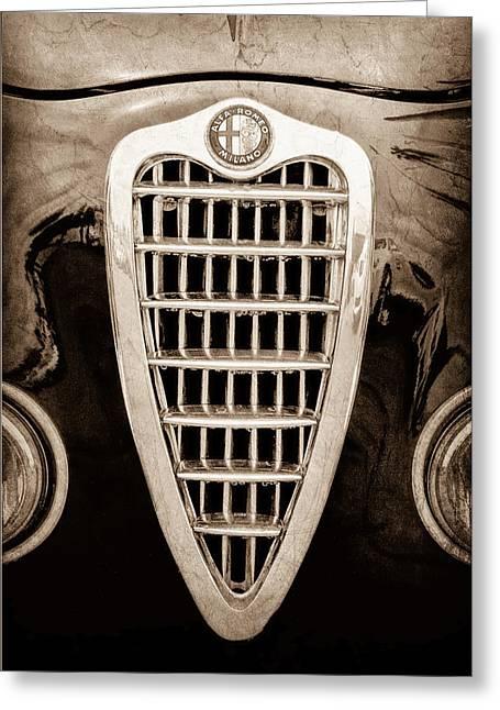 Milano Greeting Cards - Alfa Romeo Milano Grille Emblem Greeting Card by Jill Reger