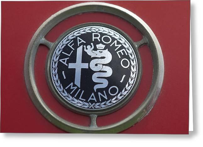 1961 Greeting Cards - 1961 Alfa Romeo Giulietta Sprint Veloce Series II Emblem -1045c Greeting Card by Jill Reger