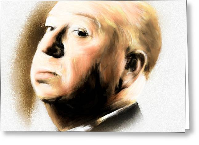 Arne Hansen Greeting Cards - Alfred Hitchcock Greeting Card by Arne Hansen