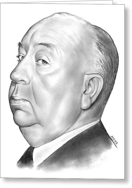 Alfred Hitchcock Greeting Card by Greg Joens