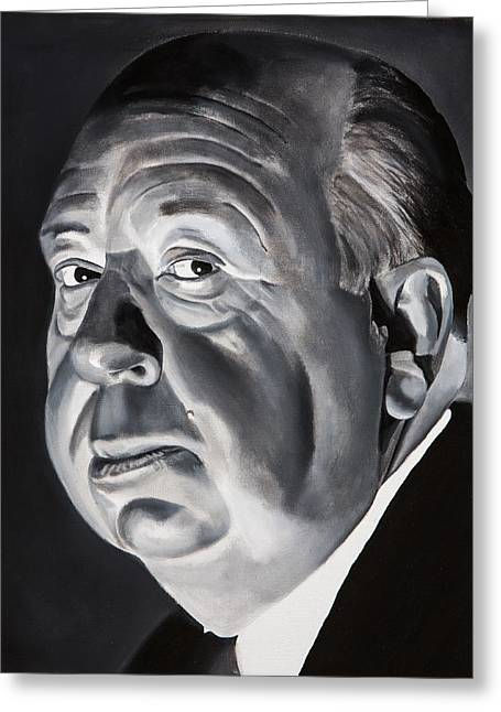 Hitchcock Greeting Cards - Alfred Hitchcock Master of Suspense Greeting Card by Brian Broadway