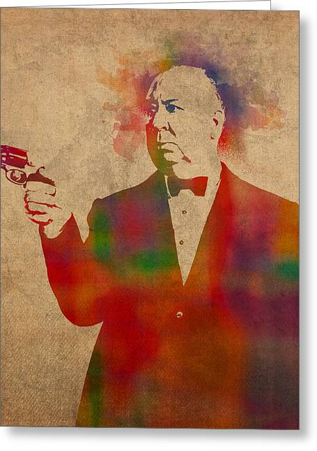 Hitchcock Greeting Cards - Alfred Hitchcock Watercolor Portrait on Worn Parchment Greeting Card by Design Turnpike