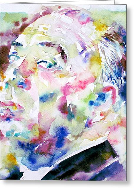Thriller Paintings Greeting Cards - ALFRED HITCHCOCK watercolor portrait.1 Greeting Card by Fabrizio Cassetta