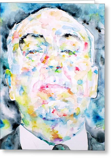 Thriller Paintings Greeting Cards - ALFRED HITCHCOCK watercolor portrait.2 Greeting Card by Fabrizio Cassetta