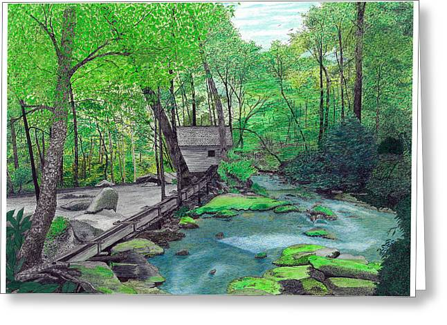 Grist Mill Mixed Media Greeting Cards - Alfred Reagan Tubmill Greeting Card by Cloud Farrow