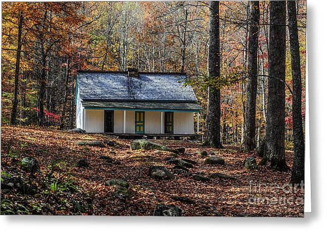 Alfred Reagan Greeting Cards - Alfred Reagans Home in Fall Greeting Card by Debbie Green