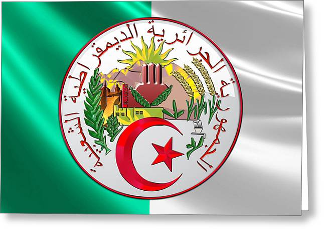 Coa Greeting Cards - Algeria - Coat of Arms over Flag Greeting Card by Serge Averbukh
