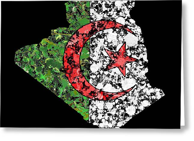Cartography Greeting Cards - Algeria Map Flag Greeting Card by Marion De Lauzun