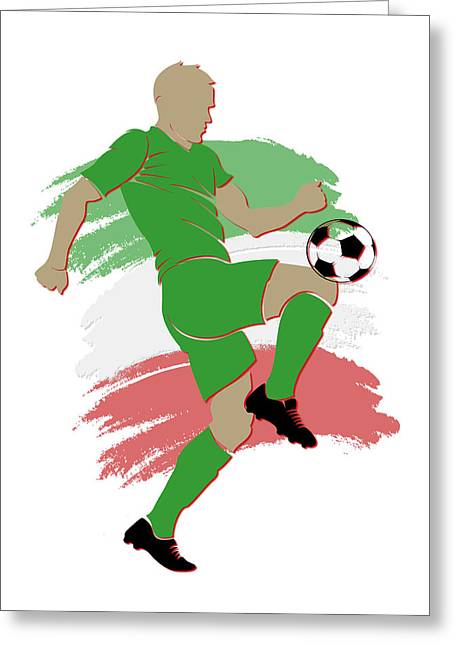 Federation Greeting Cards - Algeria Soccer Player Greeting Card by Joe Hamilton